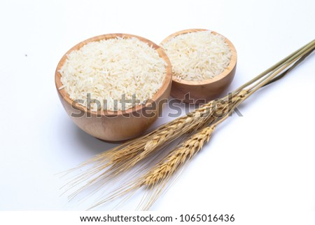 rice in bowl isolated on white background #1065016436