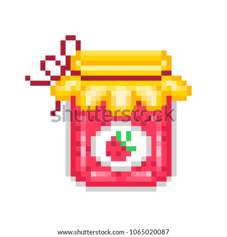Homemade strawberry jam in a glass jar, pixel art icon isolated on white background. Berry confiture. Fruit preserve. Eco dessert. Retro 80s,90s video game graphics. Old school 8 bit slot machine icon