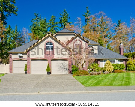 Custom built big luxury house with the triple garage in a residential neighborhood. Suburbs of Vancouver ( Surrey ) Canada. #106514315