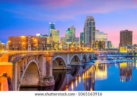 Minneapolis downtown skyline in Minnesota, USA at sunset