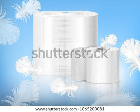 White textured toilet paper, single roll and polythene packaging, realistic composition, blue background with feathers vector illustration #1065200081