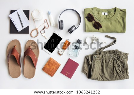 Men's casual outfits with accessories items on white background, lifestyle holiday traveler concept, flat lay fashion and beauty #1065241232