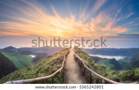 Mountain landscape with hiking trail and view of beautiful lakes Ponta Delgada, Sao Miguel Island, Azores, Portugal. #1065242801