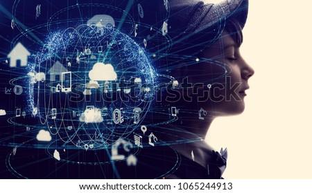Futuristic internet communication concept. #1065244913