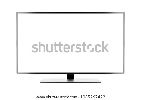 TV 4K flat screen lcd or oled, plasma realistic illustration, White blank HD monitor mockup, Modern video panel white flatscreen with clipping path #1065267422