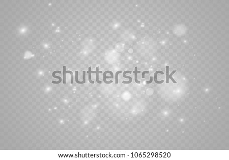 White sparks glitter special light effect. Vector sparkles on transparent background. Christmas abstract pattern.  #1065298520