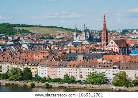 GERMANY, WURZBURG - MAY 21: Aerial view of the historic city of Wurzburg, region of Franconia, Northern Bavaria on May 21, 2015 #1065312701