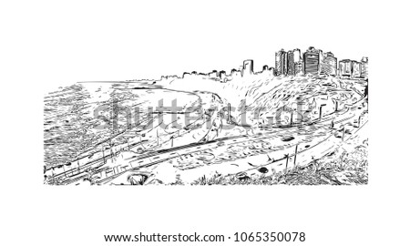 Buildings view with street in Lima, Capital of Peru. Hand drawn sketch illustration in vector. #1065350078
