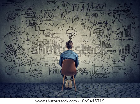 Back view of freelancer man sitting in front of wall with strategy and creating a plan.  #1065415715