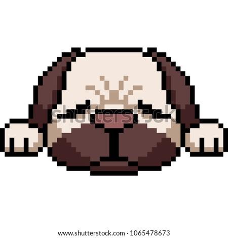 vector pixel art pug dog isolated cartoon