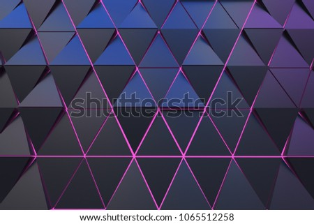 Dark abstract 3D minimalistic geometrical background of triangles