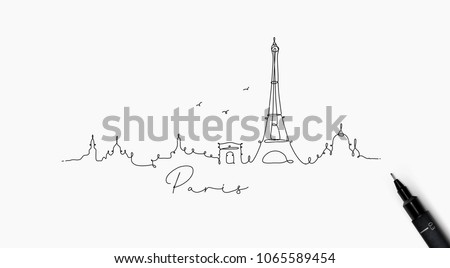 City silhouette paris in pen line style drawing with black on white background