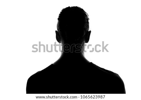 Back of male person silhouette over white #1065623987