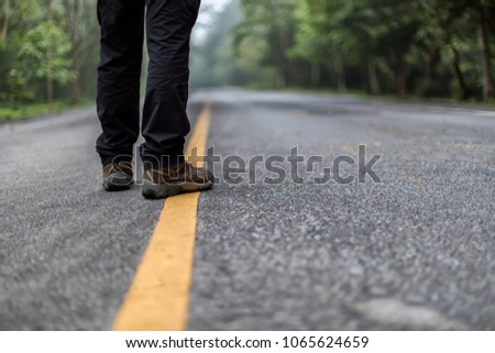 Abstract pic , Man walking on the road