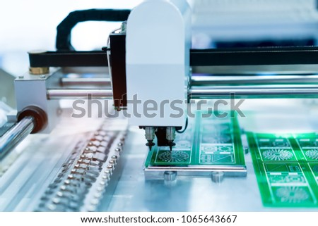 soldering iron tips of automated manufacturing soldering and assembly pcb board #1065643667