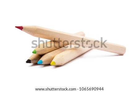Wooden colorful ordinary pencils isolated on a white background Royalty-Free Stock Photo #1065690944