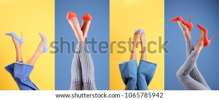 Young women in stylish shoes on color background #1065785942