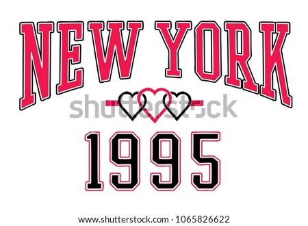 college graphic with typography.Vector Typography.Script typography.College graphic.New york with heart.apparel print