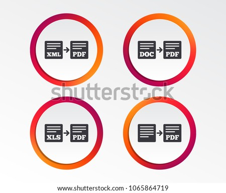 Export file icons. Convert DOC to PDF, XML to PDF symbols. XLS to PDF with arrow sign. Infographic design buttons. Circle templates. Vector