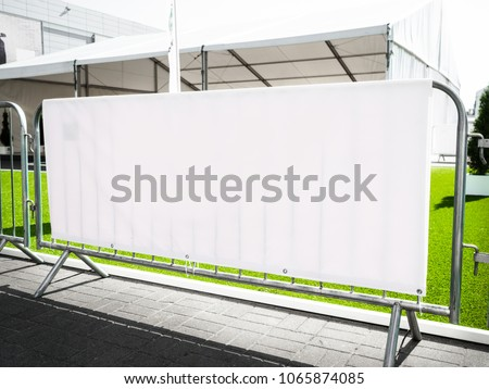 Layered Fabric Banner Mockup, vinyl banners printing, grommet mockup, Corporate outdoor banner, Horizontal Banner Mockup Hanging Outside. Fabric & Scrim Vinyl Banner hanging on the fence. #1065874085