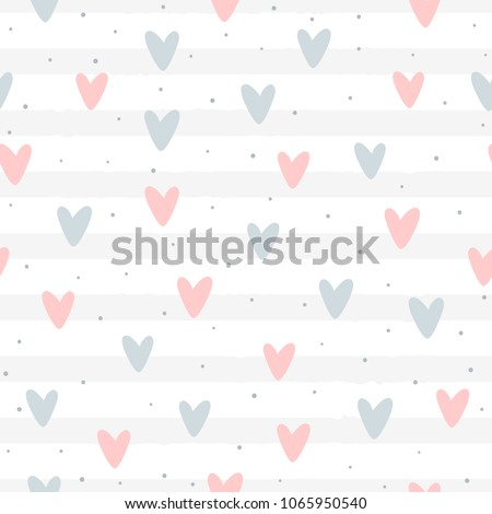 Repeated hearts and round dots on striped background. Romantic seamless pattern. Cute endless print. Drawn by hand. Girlish vector illustration. Pink, blue, gray, white.