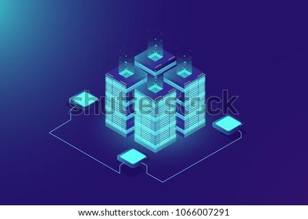 Server room rack, blockchain technology, token api access, data center, cloud storage concept, data exchange protocol illustration, dark neon gradient background