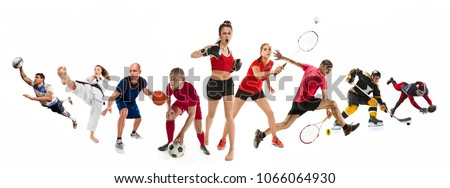 Attack. Sport collage about kickboxing, soccer, american football, basketball, ice hockey, badminton, taekwondo, tennis, rugby players. Fit men and women active athletes isolated on white background Royalty-Free Stock Photo #1066064930