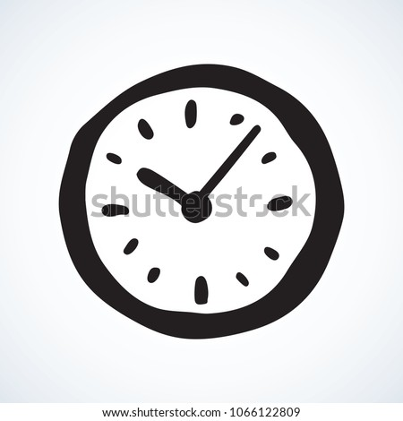 Old horologe ticker timekeeper ui emblem on white wall backdrop. Freehand linear black ink hand drawn picture logo sketchy in art retro scribble style pen on paper. Closeup view with space for text