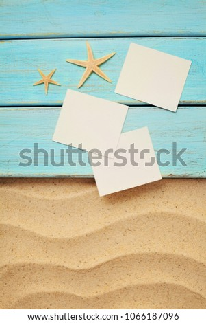 Summer empty photo card on a sea sand. summer background