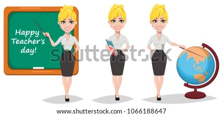 Cheerful female teacher set. Happy teacher's day. Blonde woman teacher, cute cartoon character holding books, showing with a pointer on globe and showing on blackboard. - stock vector