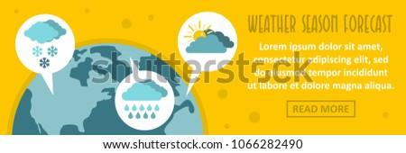 Weather season forecast banner horizontal concept. Flat illustration of weather season forecast banner horizontal concept for web #1066282490
