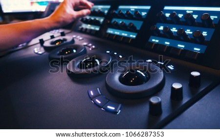 Color grading controller machine in telecine room studio lab for edit video colortone online process.