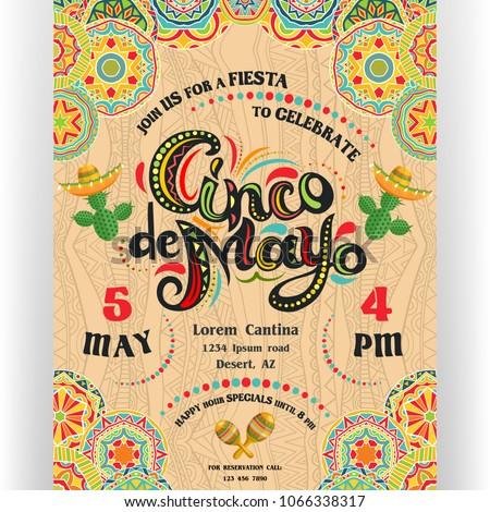 Cinco De Mayo announcing poster template. Text customized for invitation for fiesta party. Ornate lettering and cactuses in sombrero. Mexican style rich ornamented background. Vector illustration. #1066338317