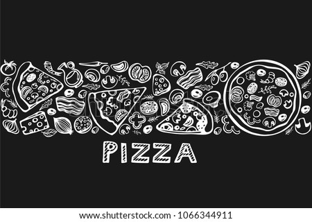 Seamless pattern. doodles pizza icons on the black background