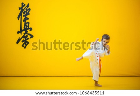 A karate kid practicing a high kick. With the word kyokushinkai on the background. Which means: the last truth associated. Royalty-Free Stock Photo #1066435511