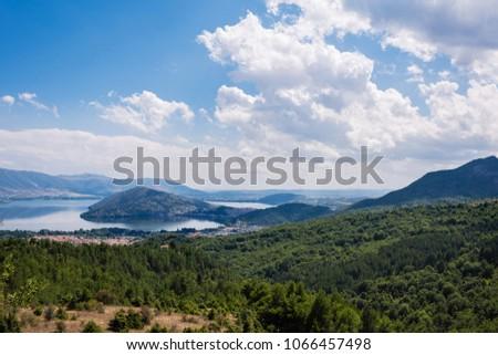 Panoramic view from mountain on the Kastoria town and neighborhood Orestias lake. Greece #1066457498