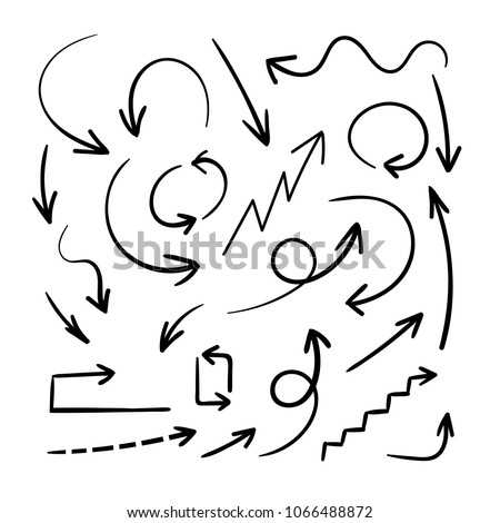 Vector Hand Drawn Arrows, Design Element Set, Black Arrows Isolated on White Background. #1066488872