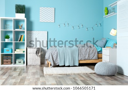 Comfortable bed in modern children room #1066505171