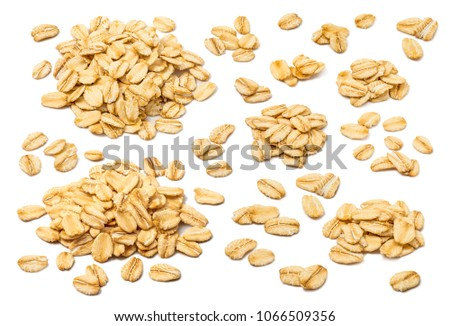Oatmeal flakes set isolated on white background. For rolled oats product package design #1066509356