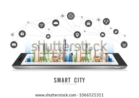 Smart city on a digital tablet or smartphone: with smart services and icons, internet of things, networks, commercial, business and augmented reality concept vector design Royalty-Free Stock Photo #1066521311