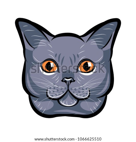 Cute cat head pop art. Isolated on white background.  illustration