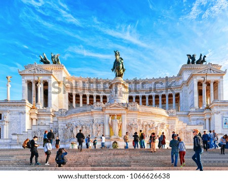 Rome, Italy - October 12, 2016: Monument of Victor Emmanuel in Piazza Venezia, Rome in Italy. Tourists in the street. #1066626638
