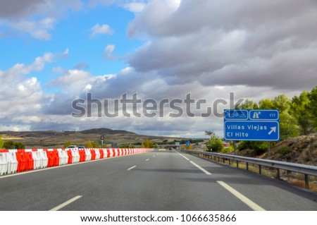 Madrid, Spain - October 30, 2010: The picturesque road from Madrid to Valencia, Spain #1066635866