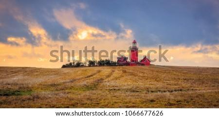 The Bovbjerg Fyr at the danish northern sea coast in Vestjylland #1066677626