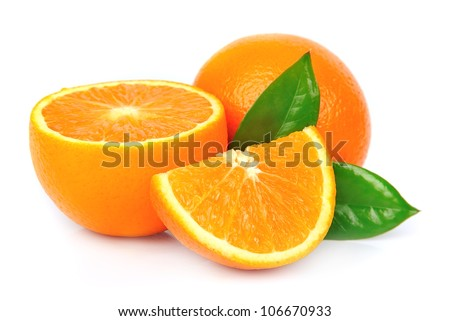 orange fruit with leafs #106670933