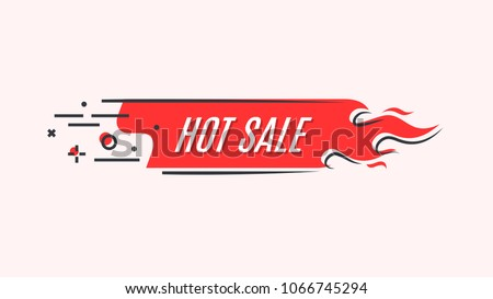 Flat linear promotion fire banner, price tag, hot sale, offer, price. Vector illustration set Royalty-Free Stock Photo #1066745294