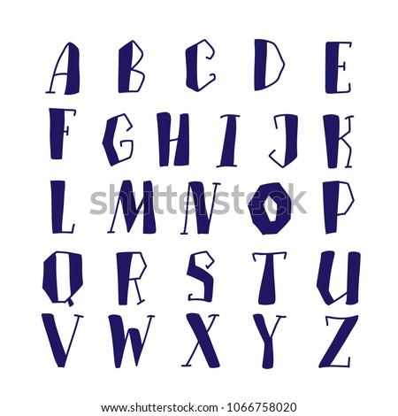 Hand lettering alphabet set vector illustration. Drawn brush letters collection.  #1066758020