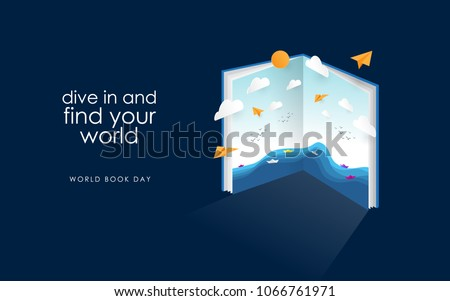 world book day, find your world with the book. Creative design with blue background.