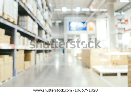 Abstract blur furniture decoration and warehouse store interior for background #1066791020