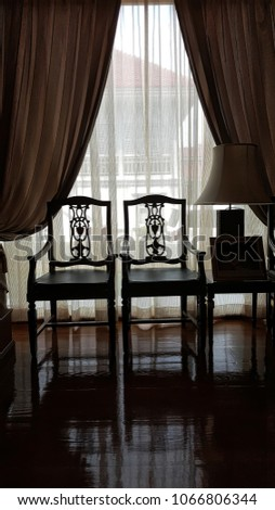 Wooden chairs in shiny living room  #1066806344